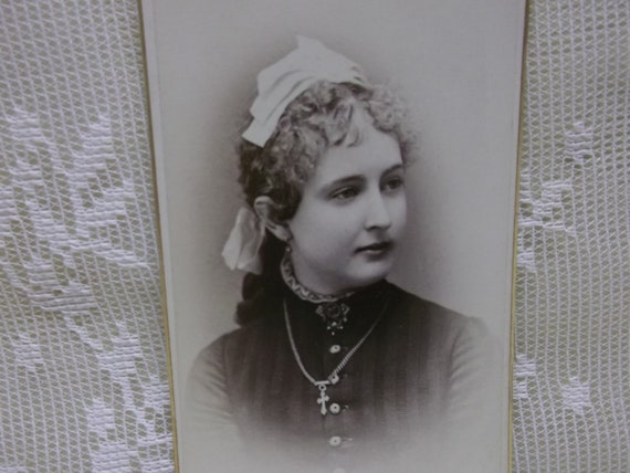 Pretty Young Lady with Odd Headpiece and Cross Necklace - Antique CDV Photo - 1800's
