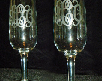 Monogrammed Champagne Flutes - Set of Two