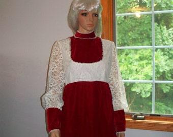 Velvet Dress Cranberry Red Velvet Hand-made  Shelf Bust -Long Lace Slveeves- Womens Vintage Dress
