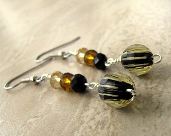50% OFF Faceted Crystal Earrings - Black, Champagne and Amber Colored Crystal Beaded Dangle Earrings (Ready to Ship)
