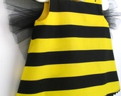 Baby and Toddler Bumble Bee Costume 3PC Set, Pinafore, Bloomers and Floral Headband