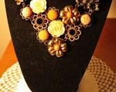 Vintage Bridal bib necklace - Coral