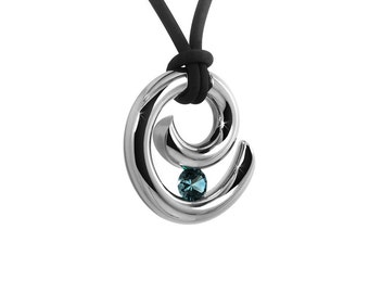 Blue Topaz Tension Set Pendant in Stainless Steel