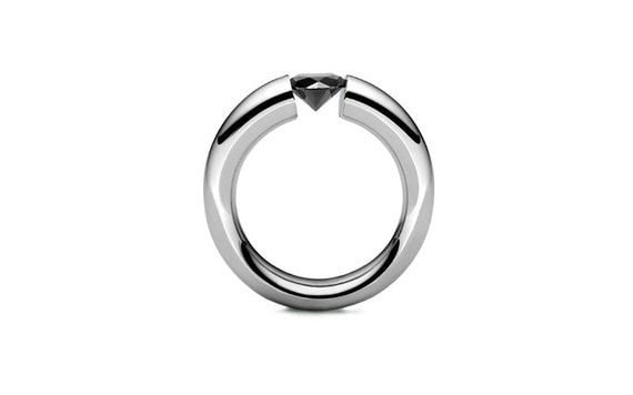 Tapered Tension Set Black Diamond Ring in Stainless Steel