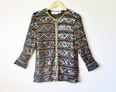 RESERVED for Damilola. 80s Gold Blue Green and Red Sequin Club Kid Party Deco Trophy Blazer. Small. Medium.