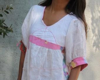 Handmade movie boy linen and Italian Lisa Corti pleated OOAK top