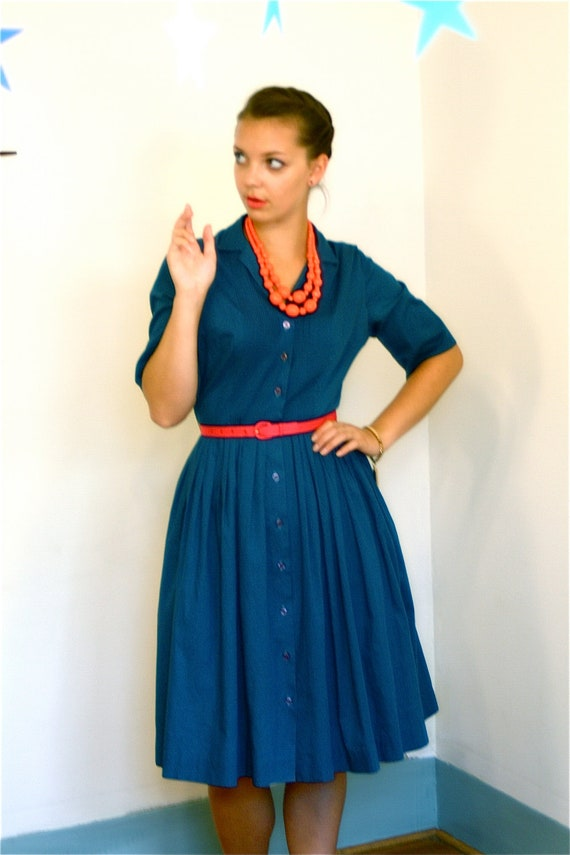 Sale-- Vintage 50s Navy Blue Cotton Day Dress Miss Colette Full Sweep Pintuck Retro Housewife 1950s to 60s MAD MEN Button Down Frock