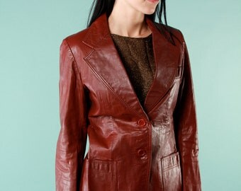 Vintage Leather Jacket 70s Brick Red Fitted Long Sleeve Buttons Pockets Small
