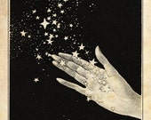 Papercut Art - Handful of Stars - Elegant Black and White Whimisical Silhouette - Nursury Decor - Children's Fairytale Illustration Print