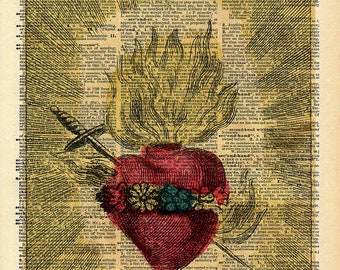 Vintage Book Art Print - Antique Sacred Heart Art - Upcycled Antique Book Print - Dark Gothic Art - Catholic Art Print