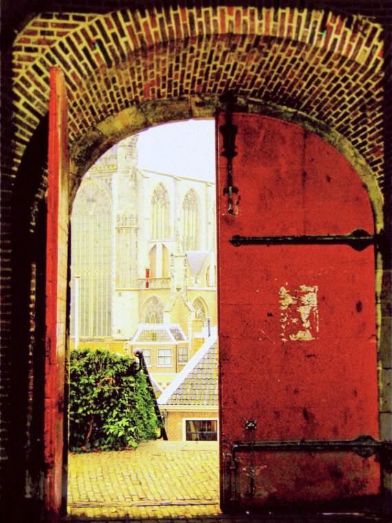 European Travel Photo - Red Door Photograph - Medieval Fairy Tale Castle - Fine Art Photography