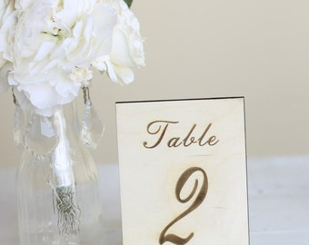 Rustic Table Numbers Engraved Wood Country Barn Wedding Decor Signs (Item Number MHD20230)