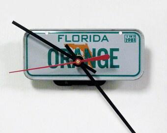 "1981 Florida ""Orange"" Bicycle License Tag Wall Clock - Mini FL License Plate"
