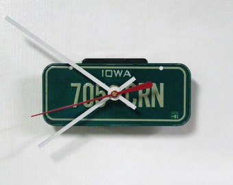 Iowa Bicycle License Tag Wall Clock - Mini 1981 IA License Plate - Gift under 20