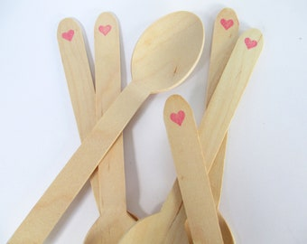 Pink Heart Stamped Wooden Party Spoons Disposable and Compostable