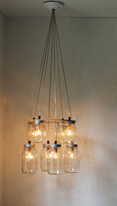 double decker mason jar chandelier upcycled hanging mason. Black Bedroom Furniture Sets. Home Design Ideas