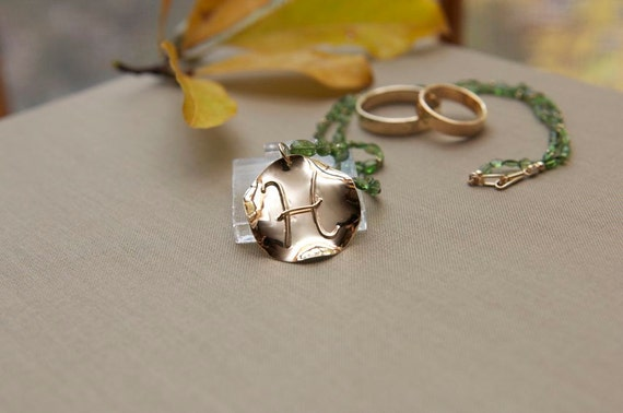 Mommy Pendant with Baby's Initial, 14k Yellow Gold, Handmade in Maine