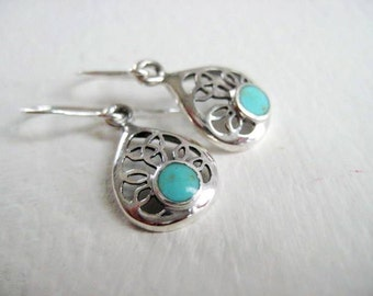 Petite Simply Silver, Turquoise Studded Dainty Filigree Earrings - Sterling Silver - December Birthstone