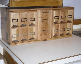 Cherry Counter top Middle Drawer Tea Storage Cabinet Handmade (made when ordered)