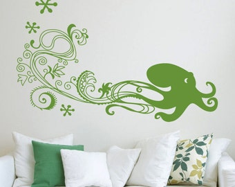 Spritely Octopus - Large Happy Sea Creature Vinyl Wall Decal