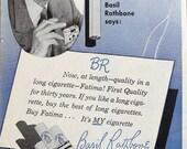 Basil Rathbone for Fatima Cigarettes 1949 vintage ad tobacciana smoking celebrity endorsement Tales radio show to frame - Free U.S. shipping