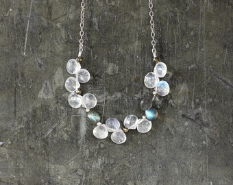 Stepping Stones - Moonstone and Labradorite Bib Statement Necklace by Prairieoats
