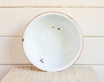 Large Vintage Enamelware Bowl, White with Red Trim