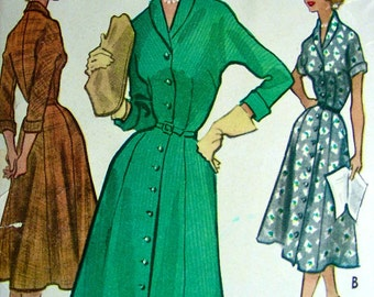 UNCUT Vintage McCall's 9089 - 1950's LOVELY Day or Evening Dress Coat Dresses  -  size 16..bust 34