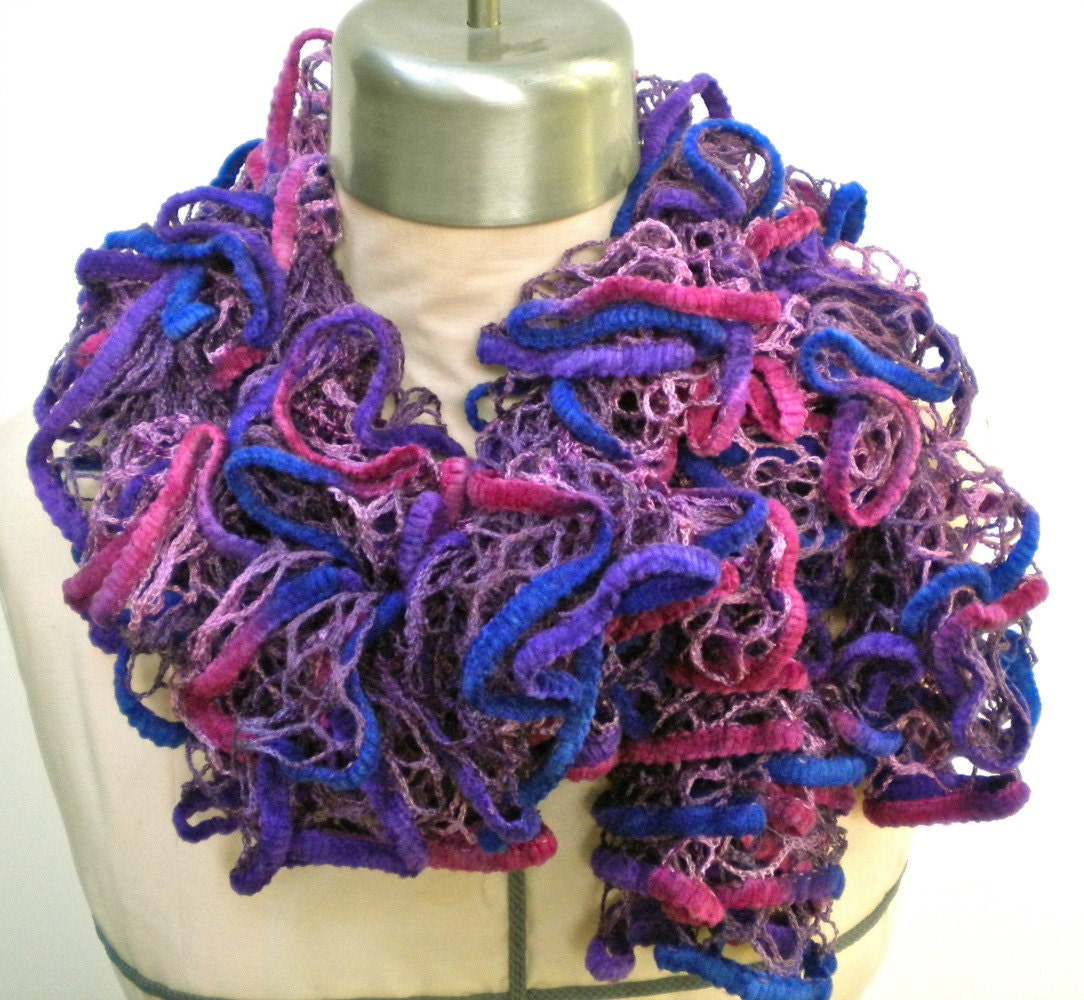 scarf purple fuchsia ruffles yarn bee by grievousangeldesigns