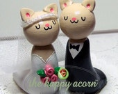Cats Custom Wedding Cake Topper  - Choice of Color - Handmade by The Happy Acorn