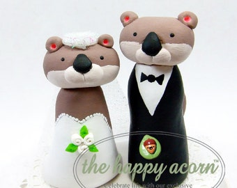 Otter Wedding Cake Topper Otters - Handmade by The Happy Acorn