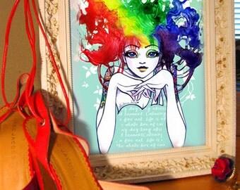 SPECTRA Rainbow Hair Girl Fine Art 8x10 Print