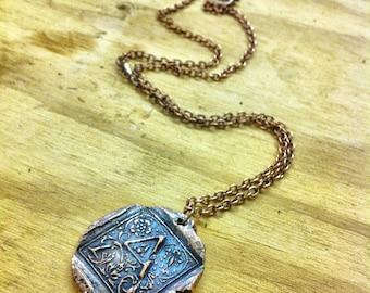 Letter Necklace - Copper Antique Wax Seal Pendant Necklace