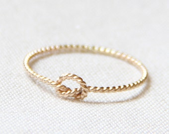Twist Rope Knot Ring - Solid 14k Gold Rope Memory Knot Ring - Tiny Twist Textured 14k Gold Stacking Ring - Delicate Rope Love Knot