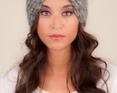 Turban Headband Grey, Wool Turban, Heather Grey Hat, Knit Turban Headband, Winter Earwarmer