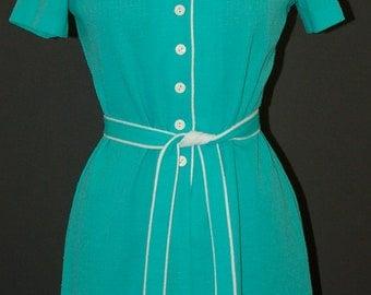Vintage Teal Button Front DRESS, Marti Petite, 1970s