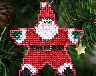 Star Santa Cross Stitched and Beaded Holiday Christmas Tree Ornament - Free Shipping