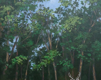 "Deer Painting, Original Animal Painting, Wall hanging, Wall Art,  Home decor, ""Deer in my Yard"""