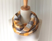 Plaid Infinity Scarf in Mustard Yellow and Clove Brown - Cowl, Circle, Loop Scarf Fall Fashion Autumn Accessory - JannysGirl
