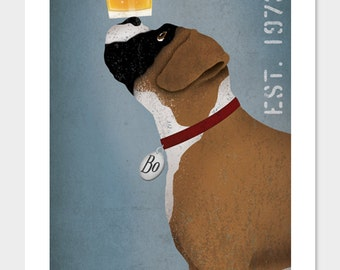 PERSONALIZED - BOXER  Dog Brewing Company graphic art giclee print  SIGNED