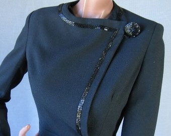70s 80s Beaded Jacket 1980s Vintage 1970s Cocktail Black 40s Style Jacket Peplum Medium Assymetrical
