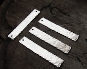 3 Rectangle Stainless Steel Blanks. Hammered Hand Stamped Flat Bars 1.5 inch - Bracelet, Necklace Connector - Pendant