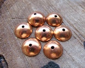 10mm Copper Bead Caps - Small Smooth Metal Bead Cap - Set of 6 caps for Glass Beads, Pearls, Gemstones, Wooden Beads or 8mm Caps