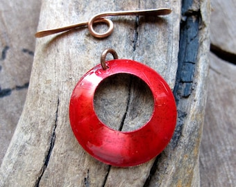 Christmas Toggle Clasp - Red Copper Clasp for Necklace, Bracelet - Handmade Jewelry Supplies