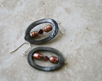 Hoop earrings, pearl,  garnet stone, shell jewelry,
