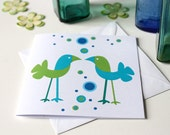 Bubble Birds square folded card: Spring has sprung for these sparrows