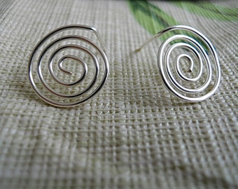 Post Earrings in Silver Swirls, Coiled Posts, Light to wear, Gift for Her,