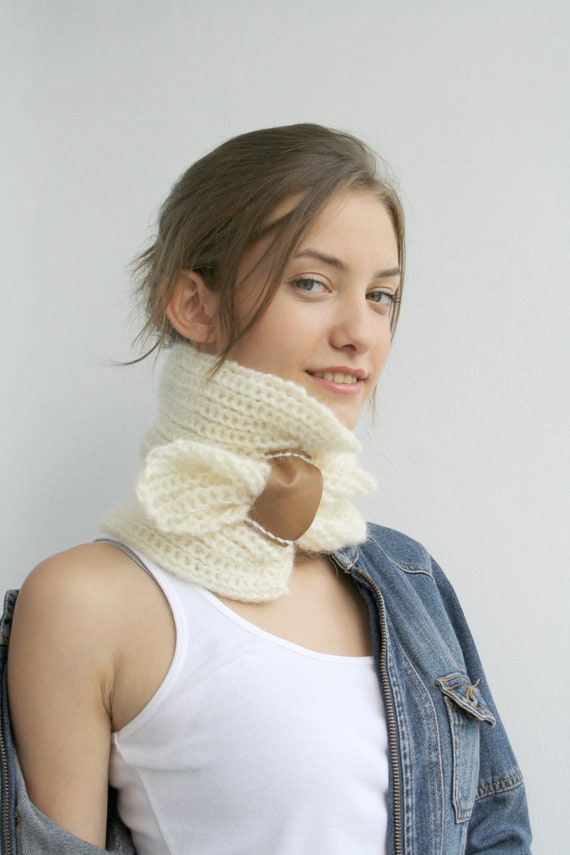 Ivory Cream  Mohair Brown Genuine Leather Bridge Scarf Collar Neckwarmer Gift for Mothers Days Gift