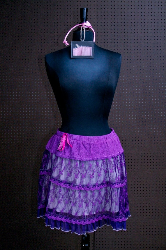 "Vintage Periwinkle Intimately Embroidered Lace Skirt ""Marrakech"" Hand-Dyed"