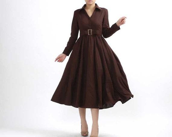 Linen shirt dress, long dress, Linen dress, Brown dress, maxi dress, Linen dress, womens dresses, Dark brown dress, maxi linen dress  (304)
